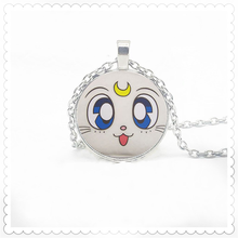 Beautiful girl cat face pattern pendant necklace 25mm round pendant new personality fashion necklace