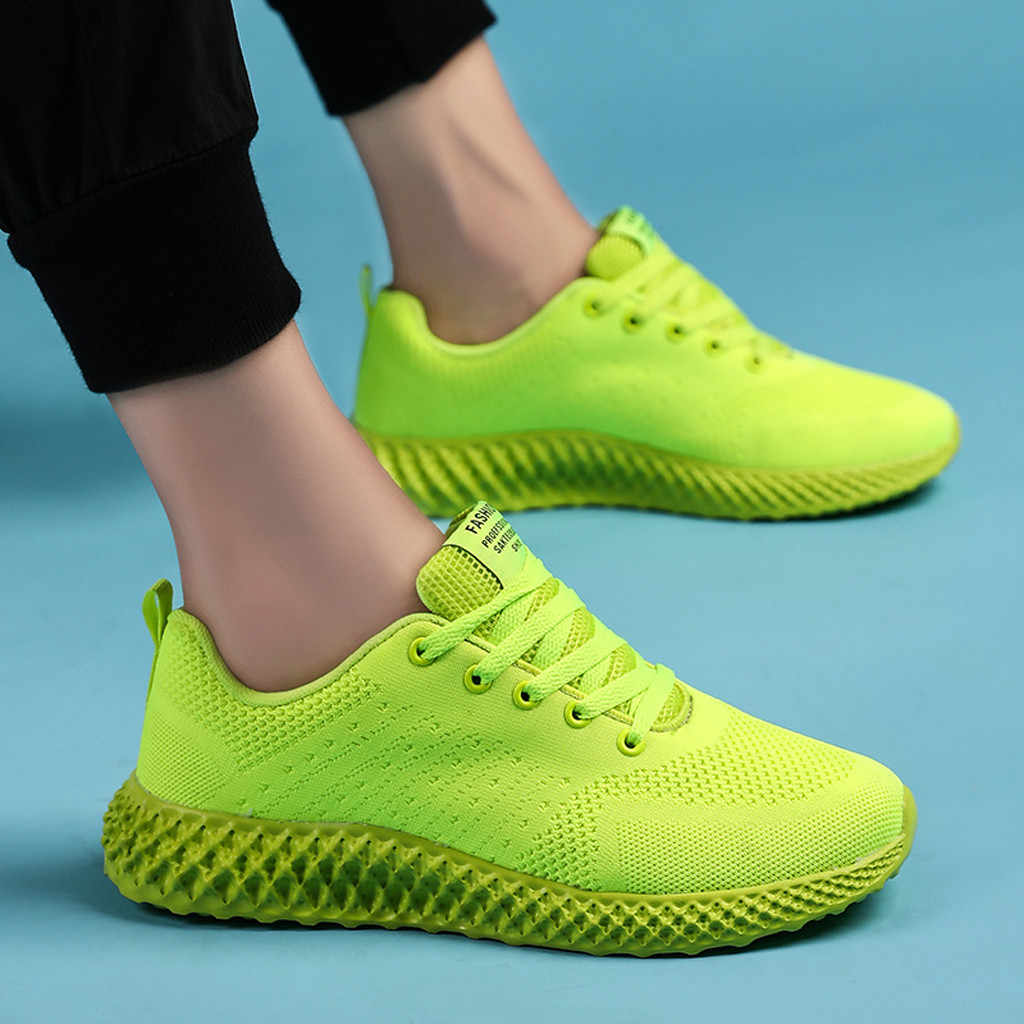 Men's Fluorescent Color Mesh Shoes Running Sneakers Couple Soft Breathable Autumn Shoes Outdoor Male Casual Sneakers Shoes