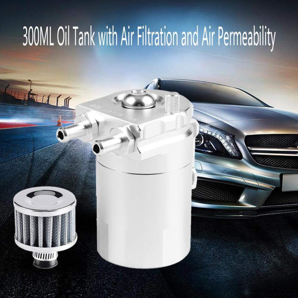 300ML Cylinder Oil Catch Aluminum Engine Oil Catch Reservoir Breather Tank/Can W/ Filter|Oil Filters| |  - title=