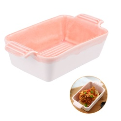 Miseczka ceramiczna podwójne ucho miska do pieczenia kuchenka mikrofalowa Pan pieczenie ciasta miska prosta miska na sos do kuchni domowej (prostokątne pieczenie