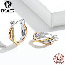 حار بيع BISAER 925 فضة بسيط جولة دائرة هندسية أقراط مرصعة حريمي الإناث مجوهرات أقراط من الفضة ECE719