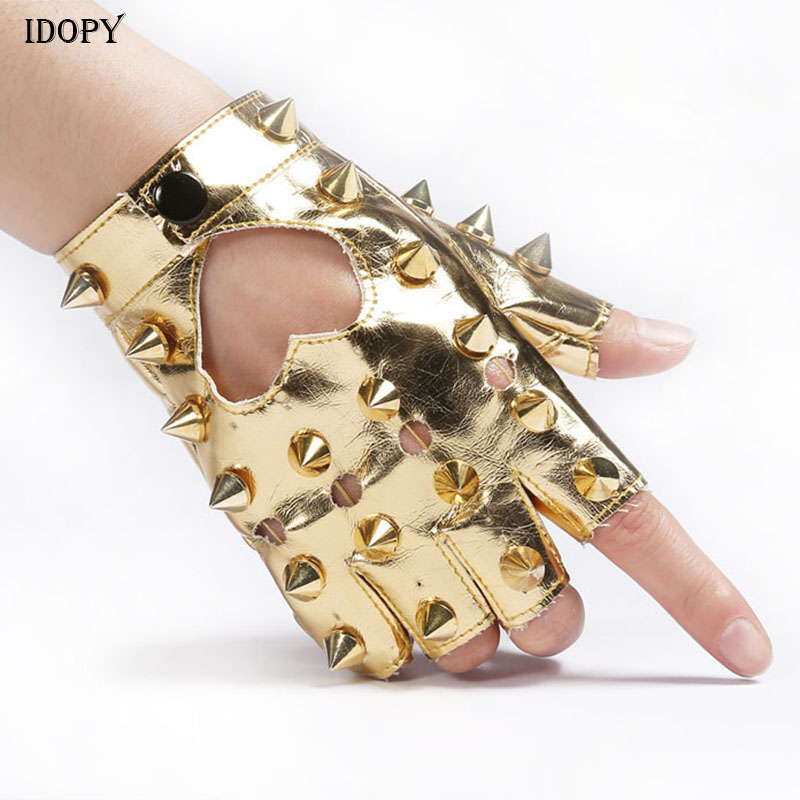 Idopy Men`s Women`s Rivet Faux Leather Glove Multi Colors Dancing Rock And Roll Jazz Cosplay Party Studded Glove