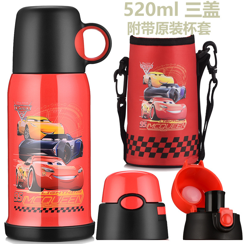 Disney Insulated Cup Children Stainless Steel Heat Preservation Pot Three Cover Tape Cup Set with Straw Direct Drinking Insulate Sports Bottles     - title=