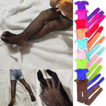 Kids Girls Diamond Stockings Hollow out Stockings Children's Socks Hot Drilling Fishnet Stockings Fashion Stockings(China)