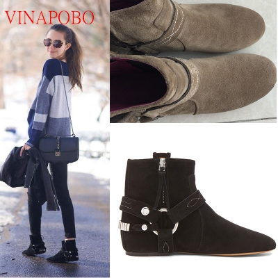 Herfst Mode 2019 patch werk suède vrouwen laarzen hoogte toenemende hak wig enkellaars zip ronde neus keten korte boot - 4