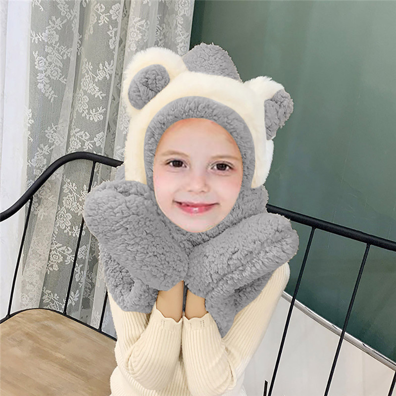 New Fashion Solid Winter Warm Hooded Ear Scarf Snood Pocket Hats Gloves Keep Warm Winter Scarves Woman Design Dropshipping O15