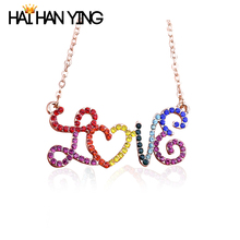 New Fashion Lady initial I love you Letter Necklace dainty Multicolored Crystal Heart Necklace Women Accessories Gold pendant tl i love you letters heart puzzle pendant necklace gold