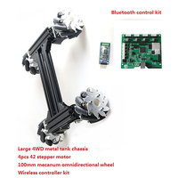 100mm Mecanum Omni Wheel High Power Metal RC Robot Tank Chassis Kit + Wireless Controller 4pcs 42 Stepper Motor DIY For Arduino