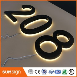 H 15cm backlit door number signs stainless steel black painted acrylic back warm white lights backlit letters House Numbers