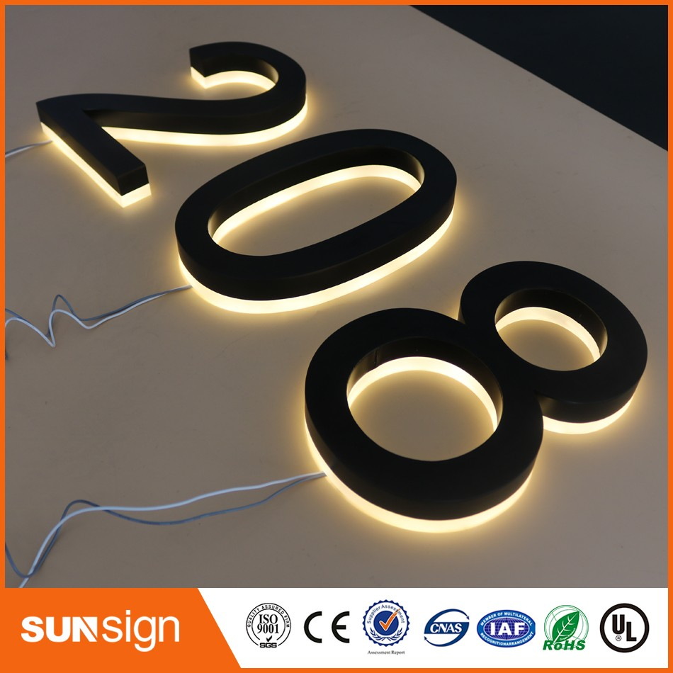 Wholesale Backlit Door Number Signs Stainless Steel Black Painted Acrylic Back Warm White Lights Backlit Letters House Numbers
