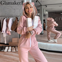 Glamaker Rosa casual langarm lange overalls & strampler Frauen zipper fitness winter haube overall Herbst outfits 2020new