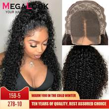Curly Human Hair Wig Closure Wigs For Black Women 30 Inch Lace closure Wig Remy Megalook 180% Density Peruvian 4x4 Closure Wig(China)