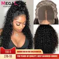 Encaracolado peruca de cabelo humano fechamento perucas para preto feminino 30 Polegada fechamento do laço peruca remy megalook 180% densidade peruano 4x4 encerramento peruca