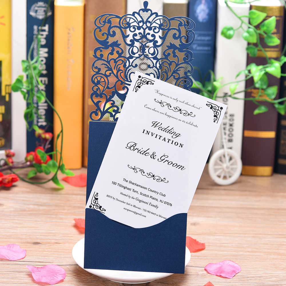 1 Piece sample lace style glittery wedding invitations,share wedding/Birthday/Gender Reveal party invitation card laser cut set