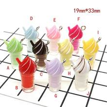 10 Pcs 19*33 Millimetri Kawaii 3D Resina Bubble Tea Soft Drink Ice Cream Pendenti E Ciondoli Pendenti con Gemme E Perle per Il Fai da Te Orecchino pendenti E Ciondoli Gioelleria Raffinata E Alla Moda Accessori(China)
