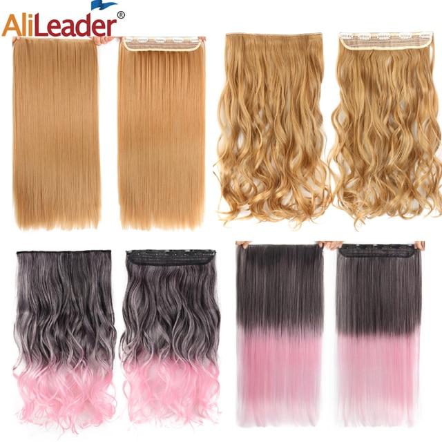Alileader-extensiones de pelo sintético degradado para mujer, peluquín falso de fibra de alta temperatura, largo, suave y Natural, 5 pinzas
