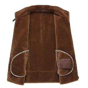 Image 3 - Gours החורף אמיתי עור מעילי Mens בגדי אופנה חום אמיתי כבש ארוך טייס מעיל עם צמר בטנה חם GSJF1850