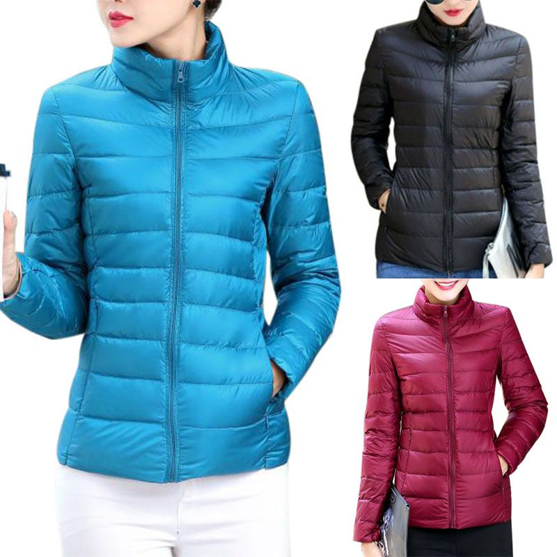 2019 Autumn Winter Jacket Women Long-sleeved Cotton Stand Collar Jacket Cotton Solid Color Casual Short Light Down Zipper Coat: