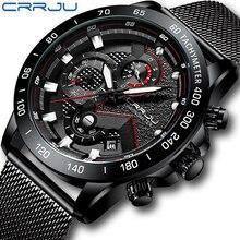 CRRJU שעון גברים למעלה מותג יוקרה צבאי צבא ספורט מזדמן עמיד למים Mens אופנה שעון קוורץ נירוסטה שעוני יד