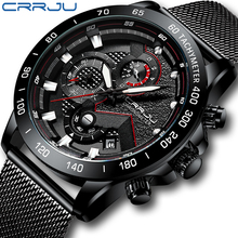 CRRJU Reloj de pulsera de acero inoxidable para hombre, deportivo, informal, militar, resistente al agua, de cuarzo