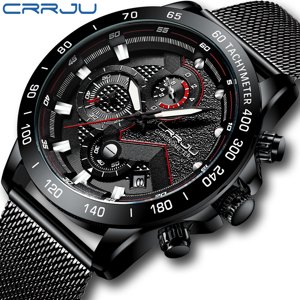 CRRJU Watch Men Top Brand Luxury Military Army Sports Casual Waterproof Mens Fashion Watch Quartz Stainless Steel Wristwatch