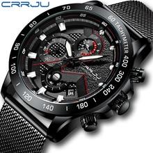CRRJU ساعة الرجال العلامة التجارية الفاخرة الجيش العسكرية الرياضة عادية مقاوم للماء رجالي ساعة الموضة كوارتز الفولاذ المقاوم للصدأ ساعة اليد