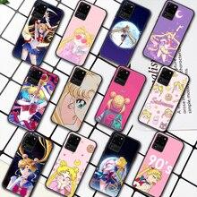 Sailor Moon Anime Phone Case For Samsung Galaxy S Note 6 7 8 9 10 E 20 UITRA FE 21 Plus Edge black Funda Soft Prime Pretty Cell