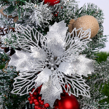 6pcs Artificial Christmas Flowers Glitter Fake Merry Tree Decorations For Home 2019 Gift Xmas Ornament