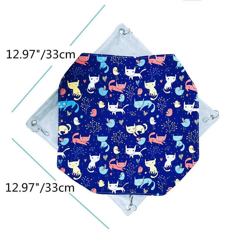 دافئ طبقة مزدوجة الكرتون القط طباعة الهامستر شينشيلا أرجوحة السنجاب السكر شراعية سرير معلق قفص إمدادات الحيوانات الأليفة الصغيرة
