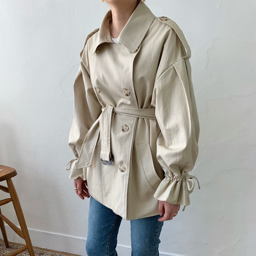 Plus Size Women's Double-Breasted   Trench   Coat with Belt Spring Autumn Korean Style Loose Short Outwear Windbreakers