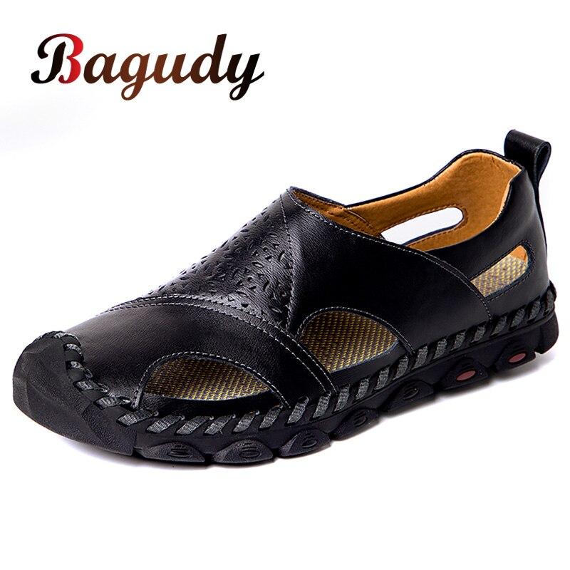 Quality New Summer Men Soft Sandals Comfortable Casual Fashion Men Leather Sandals Men Roman Outdoor Beach Sandals Big Size38-48