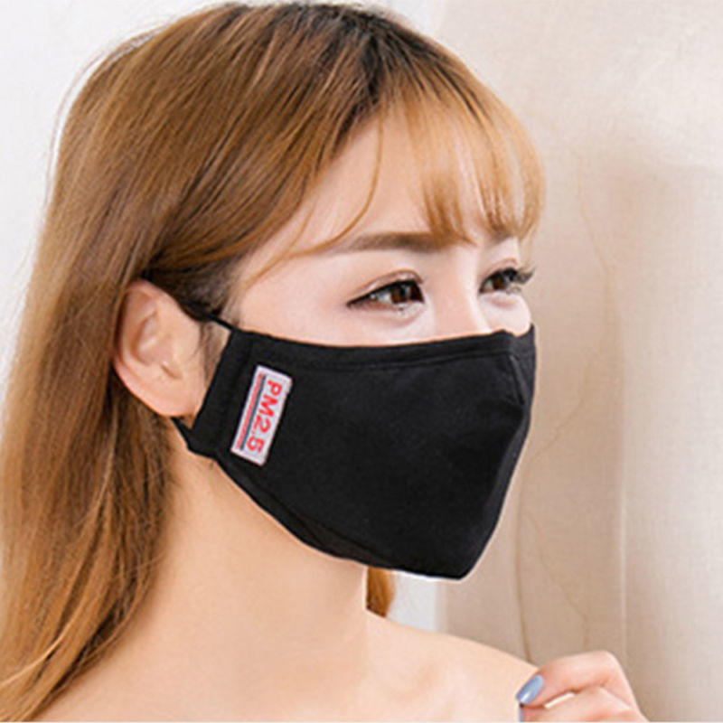 Black Cotton Anti-dust Face Masks Cycling Motorcycl Wearing Flue Face Mouth Mask Unisex Mouth Muffle  For Four Seasons