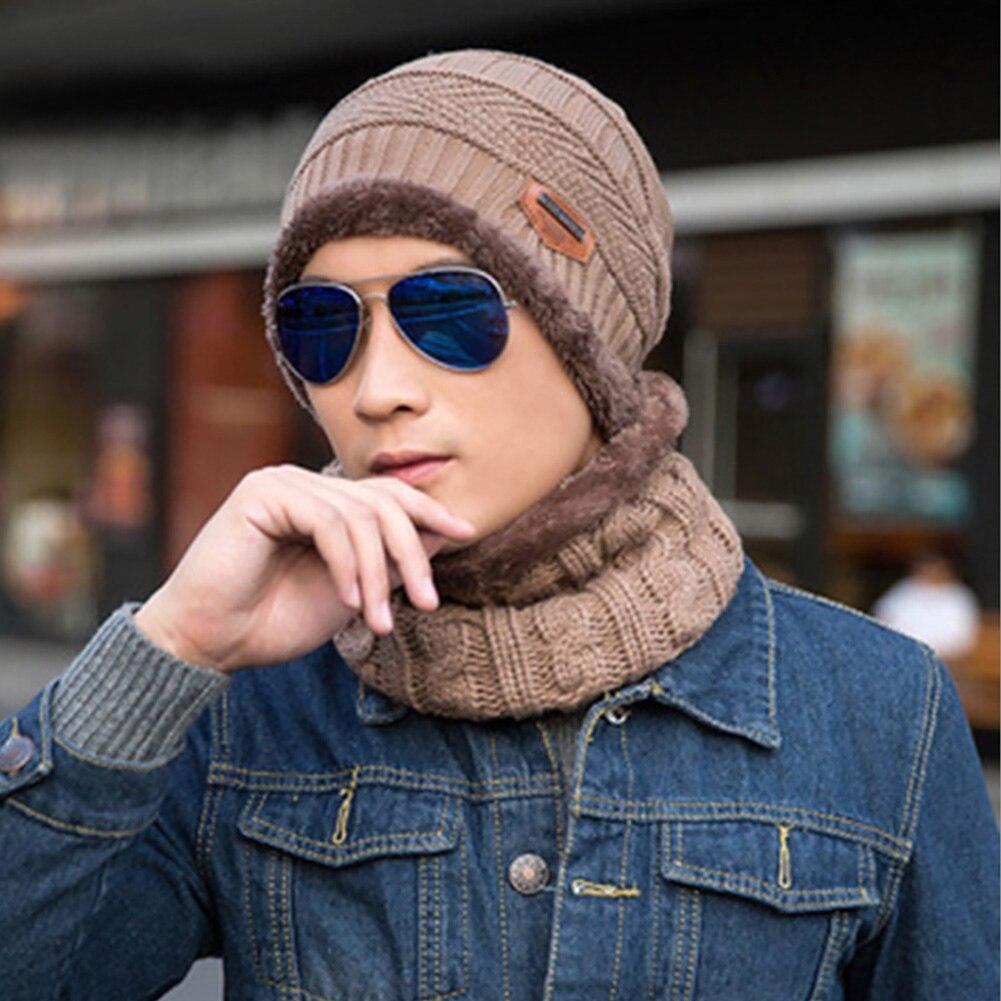 Men Autumn Winter Soft Keep Warm Knitting Wool Ski Hat Scarf Set Camping Fashion Two Piece Windproof Outdoor Elastic Hiking