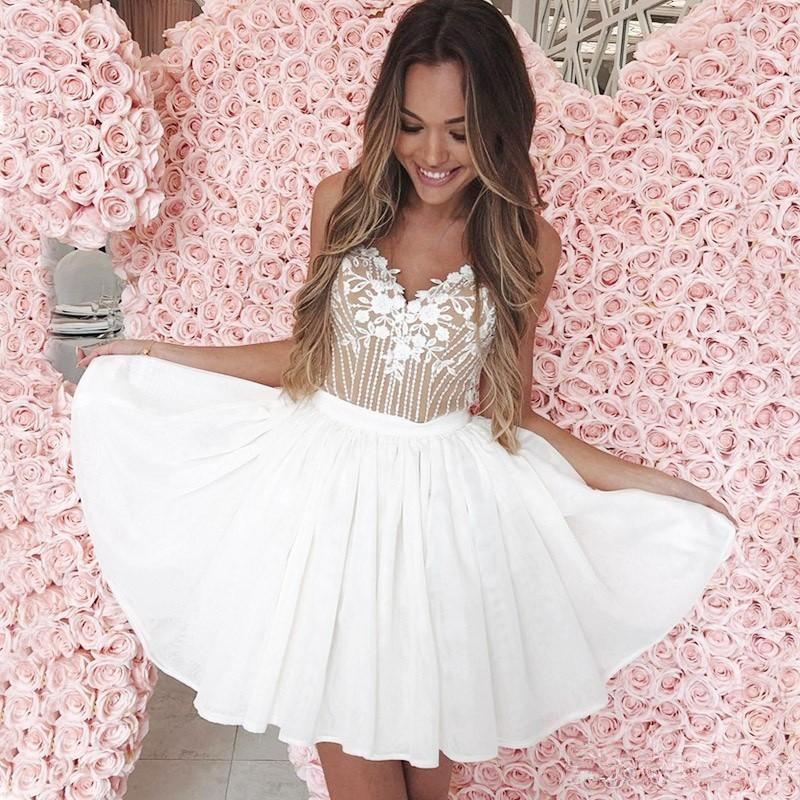 2020 Little White Homecoming Dresses With Appliques Spaghetti A Line Short Cocktail Party Dress Custom Made Prom Gowns