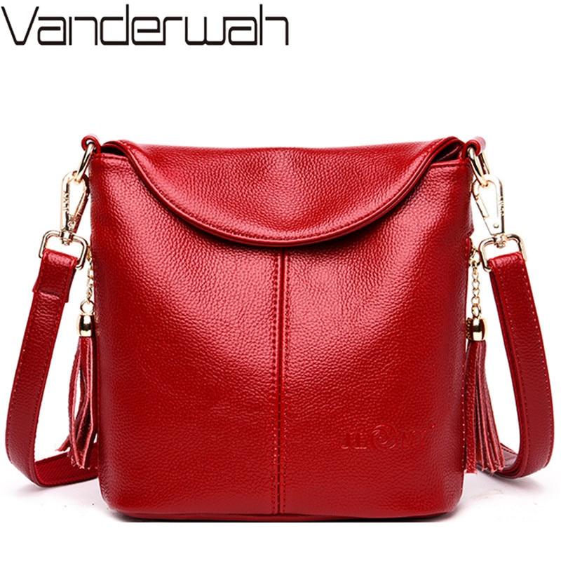 Vintage Female Shoulder Messenger Bag Ladies Soft Genuine Leather Crossbody Bags For Women Handbag Sac Fashion Tassel Bucket Bag