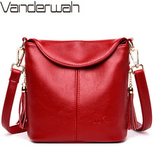 Vintage Female Shoulder Messenger Bag Ladies Soft Genuine Leather Crossbody Bags For Women Handbag Sac Fashion Tassel Bucket Bag