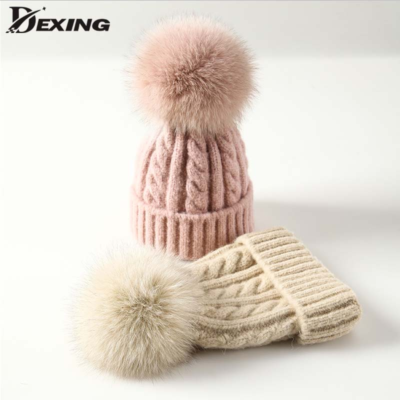 Fur Pompom Wool Winter Hat for Women Girl Hat Knitted Striped   Skullies     Beanies   Thick Warm Female faux Pom pom Hat for Ladies