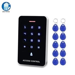 Image 1 - OBO מגע לוח בקרת גישה לוח מקשים RFID קורא מקלדת גישה בקר WG26 דלת פעמון כפתור + 10pcs EM4100 Keyfobs תגים
