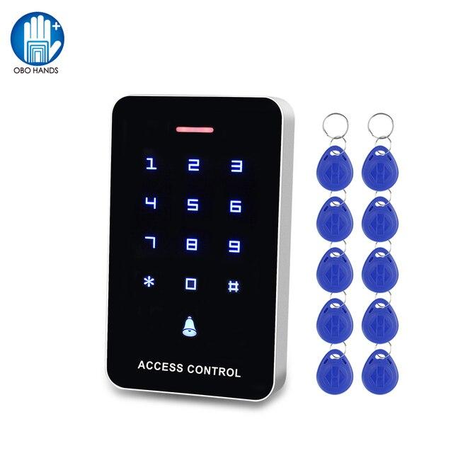 OBO מגע לוח בקרת גישה לוח מקשים RFID קורא מקלדת גישה בקר WG26 דלת פעמון כפתור + 10pcs EM4100 Keyfobs תגים