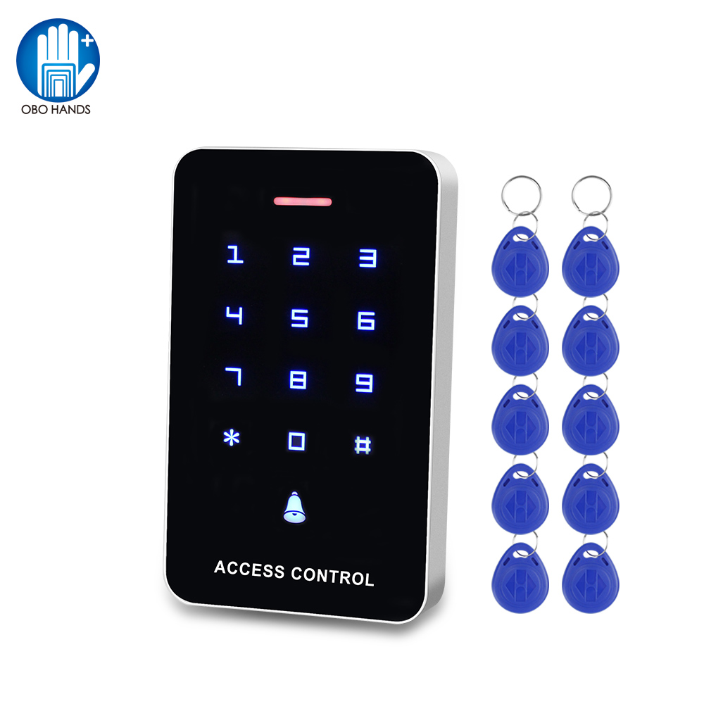OBO Touch Panel Access Control Keypad RFID Reader Keyboard Access Controller WG26 Door Bell Button + 10pcs EM4100 Keyfobs Tags