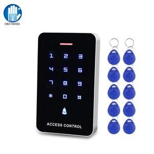 Image 1 - OboタッチパネルアクセスコントロールキーパッドrfidリーダキーボードアクセスコントローラWG26 ドアベルボタン + 10 個EM4100 キーフォブタグ
