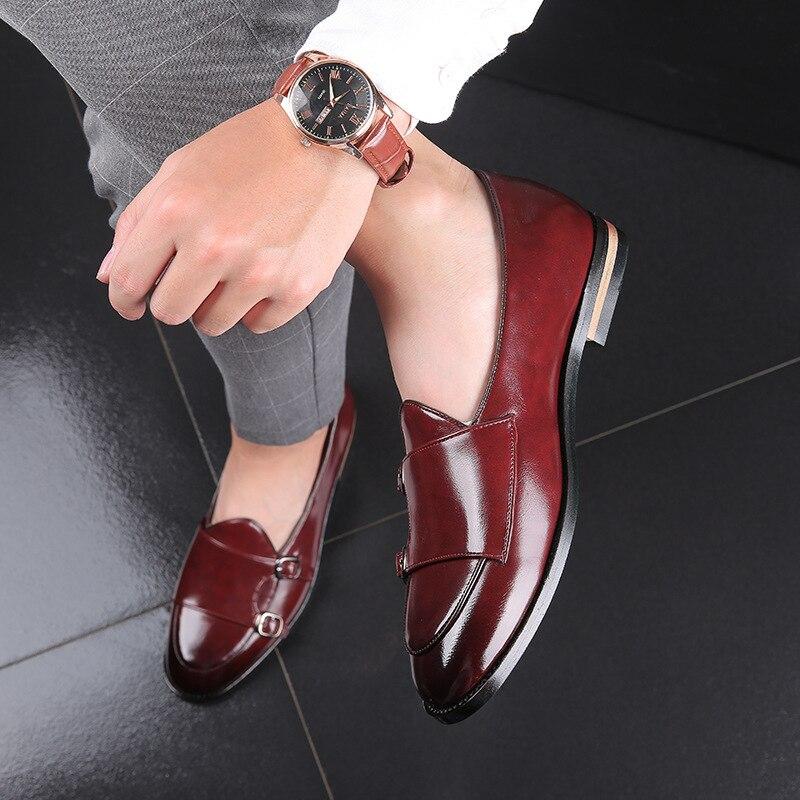 Men Loafers Dress-Shoes Straps Double-Buckle Classic Business Retro Fashion 48 Flats