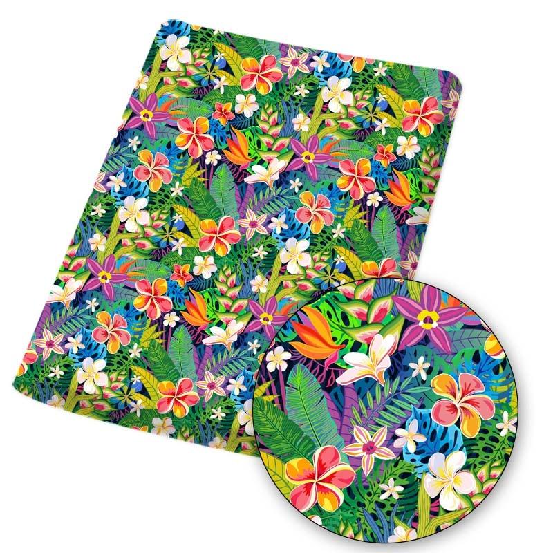 Tecido de algodão poliéster folhas verdes flor impresso pano folhas vestido fazendo máscaras artesanais diy artesanato suprimentos 45*145cm 1pc
