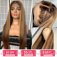 Hesperis 360 Lace Frontal Wig Pre Plucked 13x6 Lace Front Human Hair Wig Brazilian Remy Straight Colored Blonde Highlight Wigs
