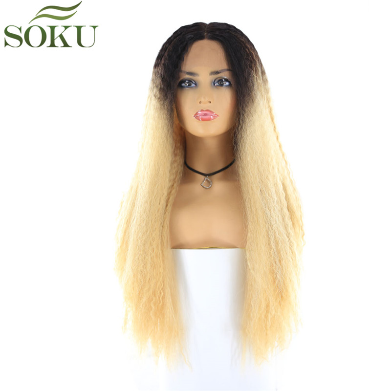 SOKU Lace Wig Hair-Wigs Blonde Kinky-Straight-I-Part Ombre 26inch Long-Tendy 150%Density