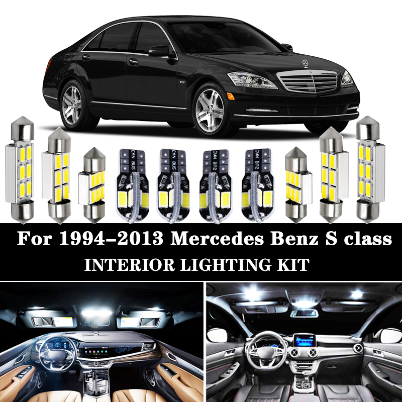 100% canbus White Error Free LED bulb Interior Dome Map Ceiling <font><b>Light</b></font> Kit For Mercedes <font><b>Benz</b></font> S class W140 W220 <font><b>W221</b></font> (1994-2013) image