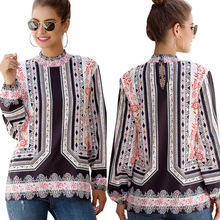 New ladies autumn shirt fashion loose long-sleeved printed women #OM9102