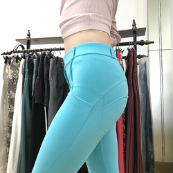 Melody Four Ways Stretchable Blue Leggings Mid Waist Skinny Pencil Push Up Leggings Womens Sexy Workout Plus Size Leggins