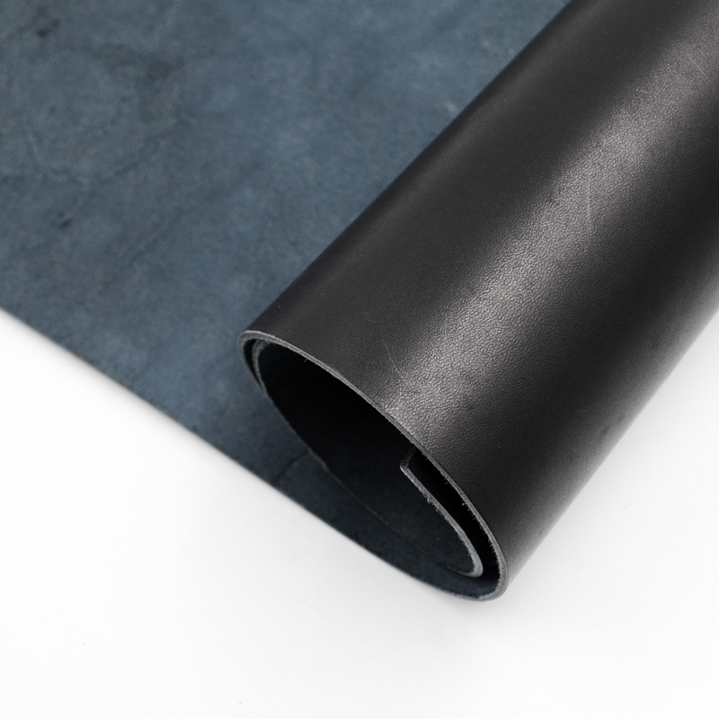 2.0mm first layer of geniune leather cowhide Vegetable tanned leather 2.0mm thickness paint for skin black color image