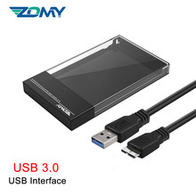 Zomy Black Portable HDD Enclosure 2.5'' SATA to USB 3.1 Transparent External Hard Drive Case Usb3.0 for Laptops Shell SSD Box
